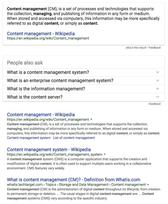 content management serp