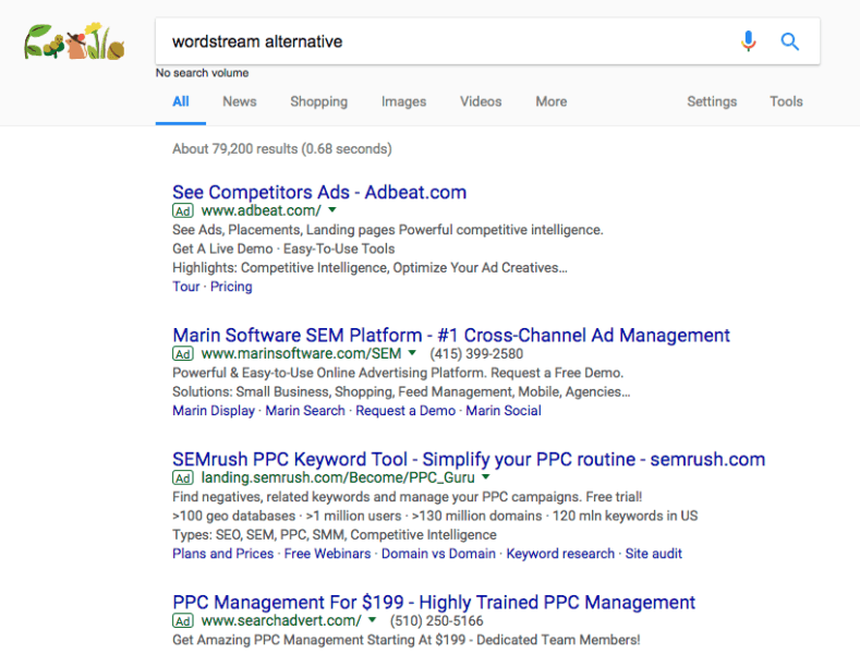 wordstream alternative SERPS page
