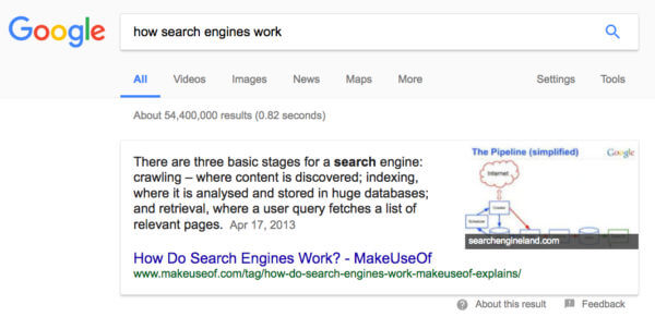 Google Featured Snippet w/ Photo