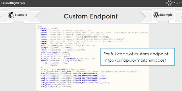 Custom Endpoint Required for AMP Post Forms
