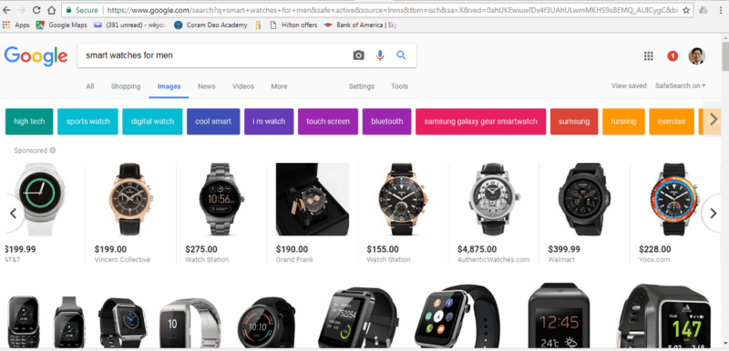 "Search results for ""smart watches for men"" displays Product Listing Ads (PLA) in carousel above Google image results"