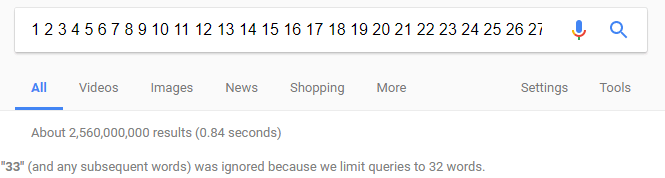 Google search 32 word limit