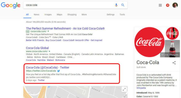 Coca-Cola's Twitter account in Google search results