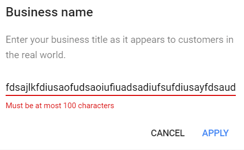 GMB Name 100 character limit