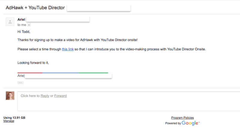 First email with YouTube director