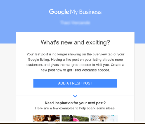 Google reminds you to create a new post