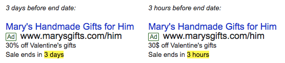 countdown ads in adwords