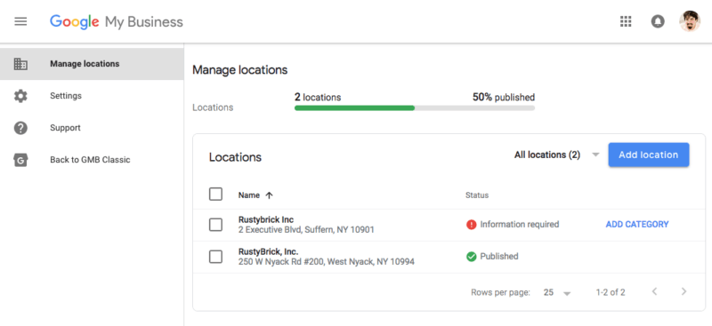 multiple listings Google My Business dashboard