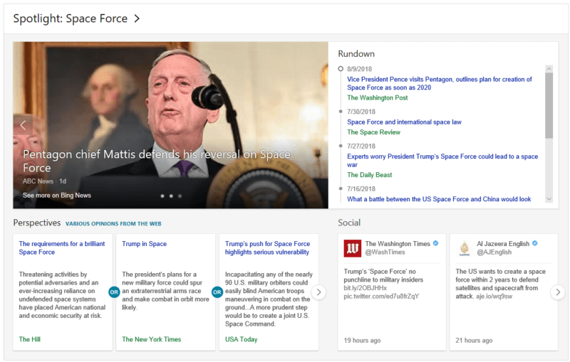 News-MP-Space-Force-800x509 'Bing spotlight' offers a news hub for information on evolving stories, powered by AI and human editors