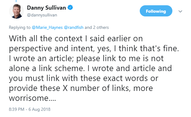 dannysullicanlinktweet3 This SEO nerd says its OK to ask for links