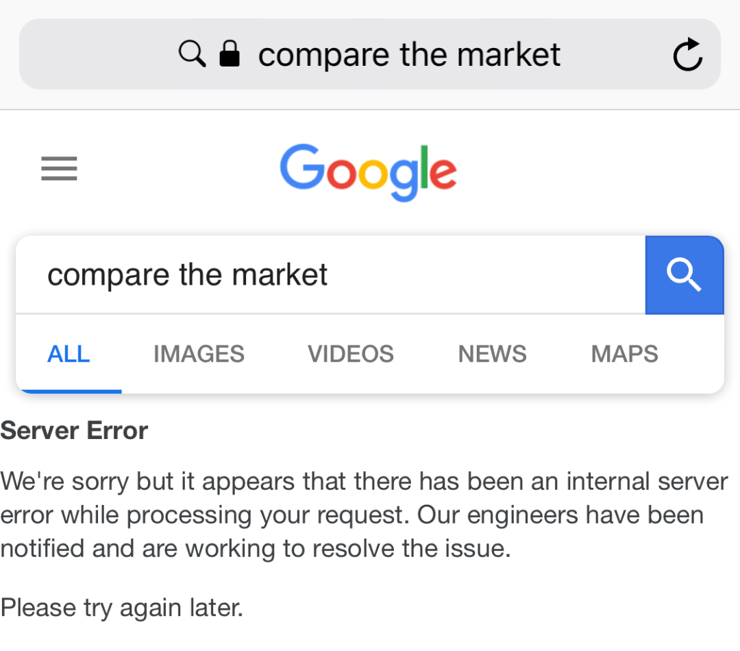 "google-compare-the-market You can break Google search by searching for ""compare the market"""