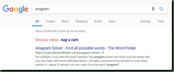 Google Easter egg: anagram