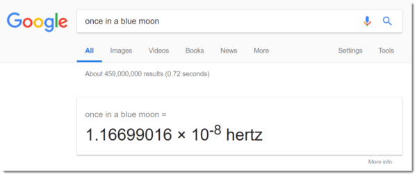 google easter egg: once in a blue moon