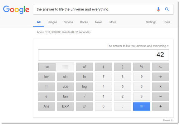 Google Easter egg: the answer to life the universe and everything