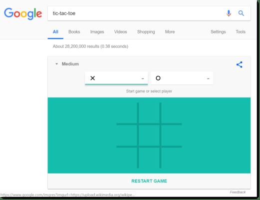 Google Easter egg: tic-tac-toe