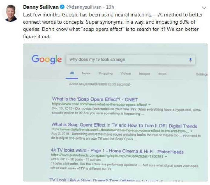 Screenshot of Danny Sullivan tweet on neural matching