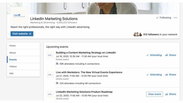 events tab in linkedin