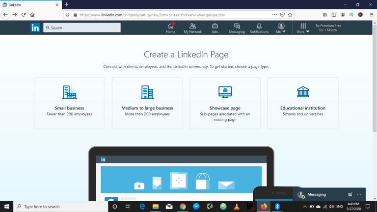create a LinkedIn Business Page