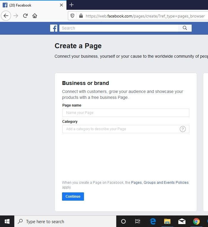 create a page on facebook for business
