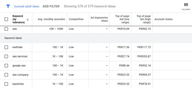 Google keyword planner Keyword ideas - Google Ads
