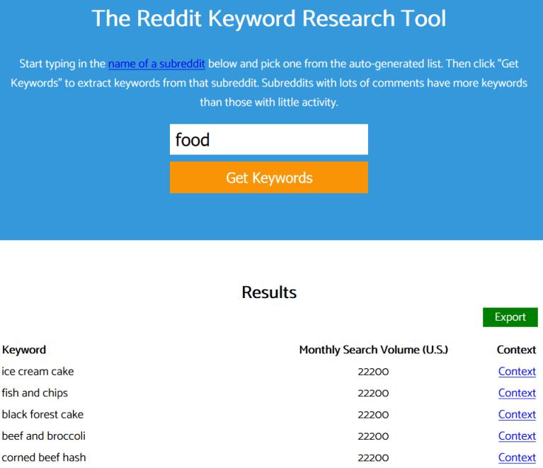 Reddit Keyword Research Tool to get blog post ideas