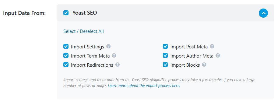 Import settings Setup Wizard - Rank Math