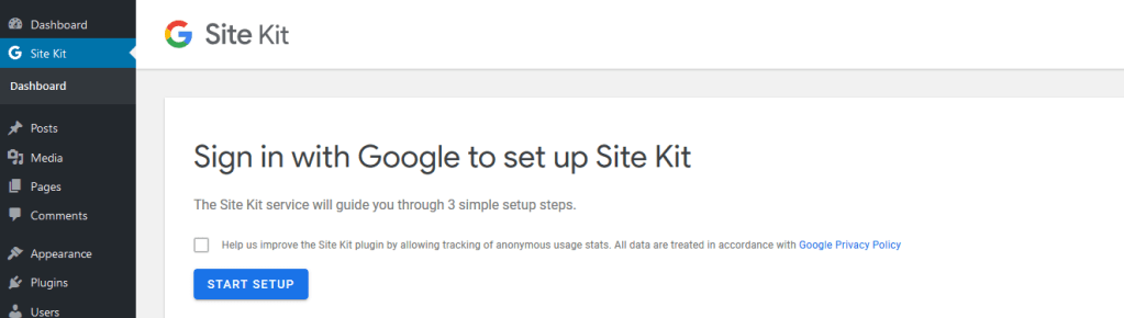 Site Kit by Google setup