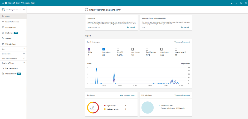 Home - Bing Webmaster Tools
