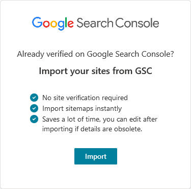 Import from GSC to bing webmaster tools