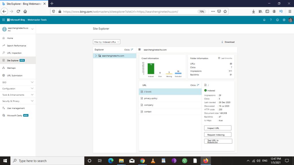 Site Explorer in Bing Webmaster Tools