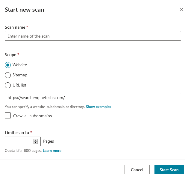 Site Scan - Bing Webmaster Tools