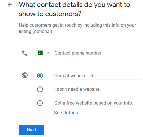 contact details Google My Business