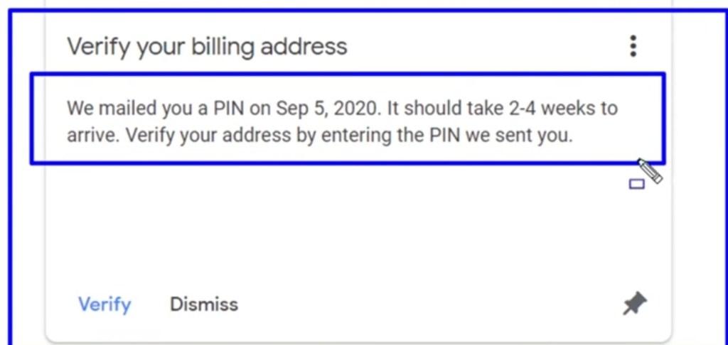 PIN verification in AdSense