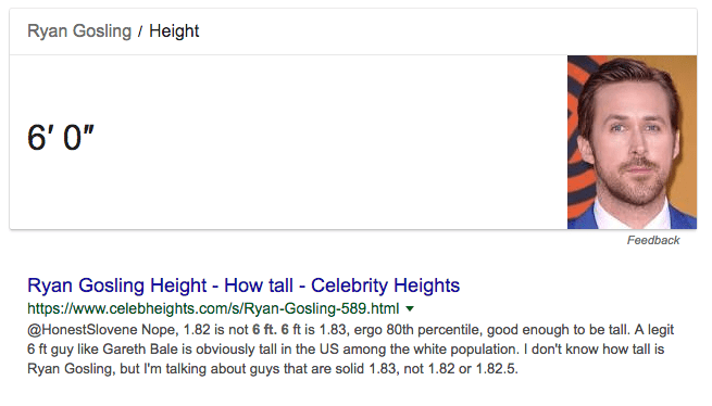 featured snippet ryan gosling height