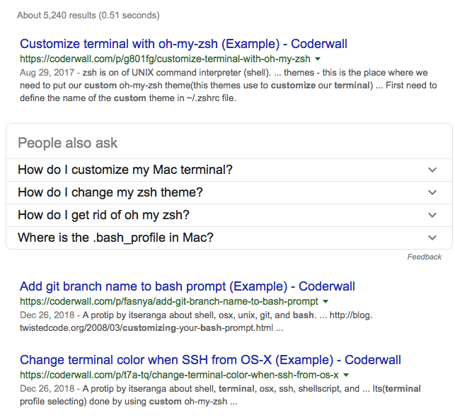 coderwall SERP with (example) at end of each title