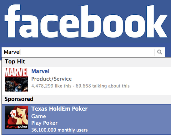 facebook beta tests sponsored results in its search box, 2011