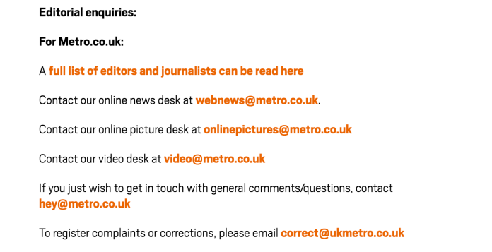 contact info for Metro.co.uk, shows email for a corrections desk which can be the best option for reviewing unlinked brand mentions