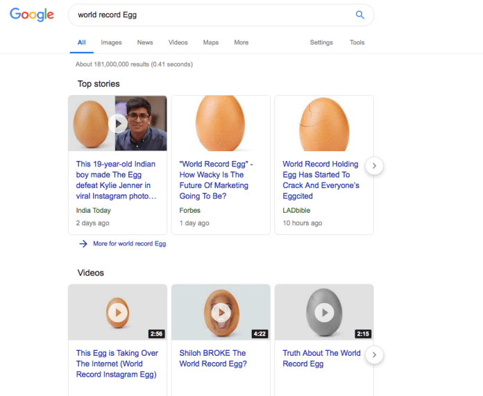 """Google search for """"world record egg"""" at the end of January"""