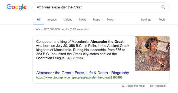 Example of a Google snippet for a particular search query