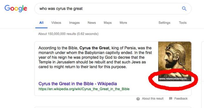 Example of Google snippet content and image fetching from two different sites
