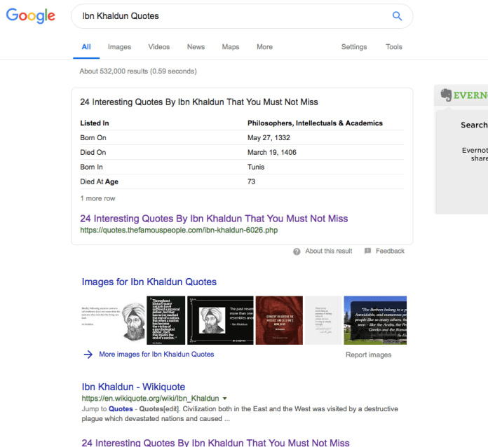 Example of table of facts in a Google snippet