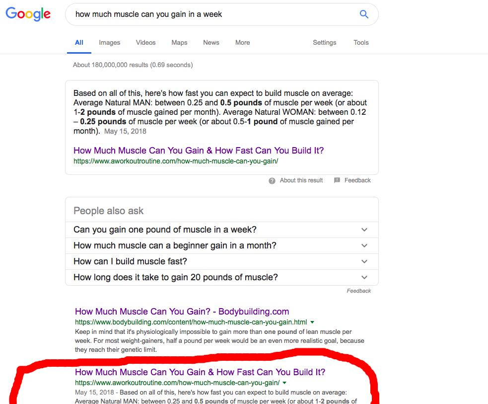 Example of how site ranking doesn't affect rich snippets