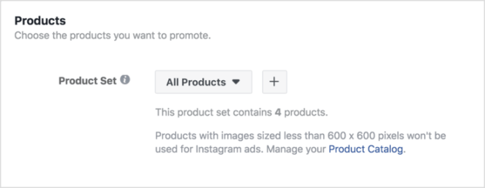 Product set in Facebook dynamic ads