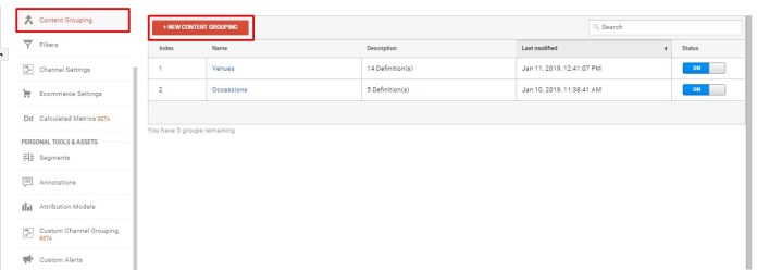 Content grouping in Google Analytics