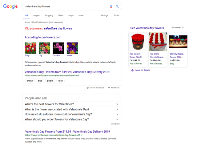 Example of structured data on Google
