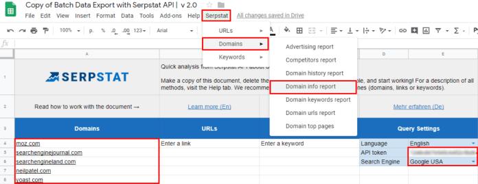 Spreadsheet of keyword and batch analysis