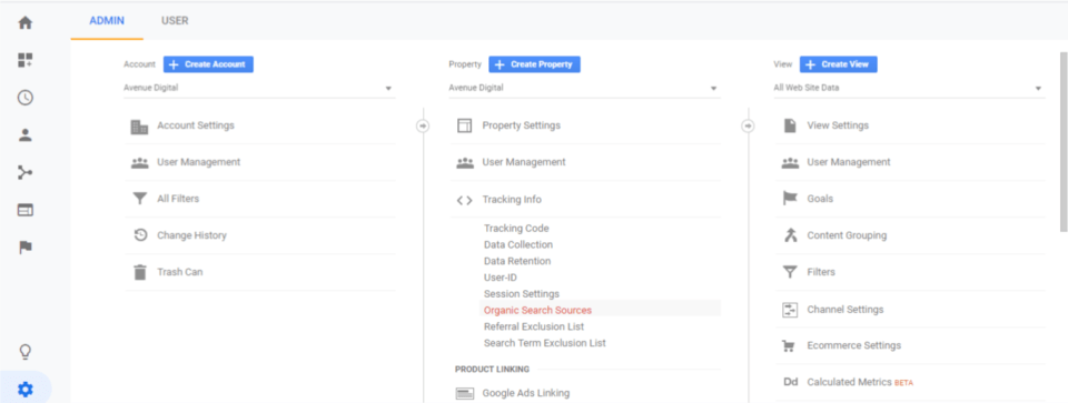 "Example of setting websites as ""Organic Search Sources"" in Google Analytics"