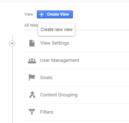 Example of creating a view without filters in Google Analytics
