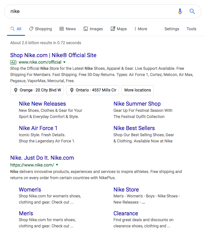 screenshot of SERP listings and ads for Nike