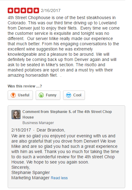 Example of responding to positive reviews
